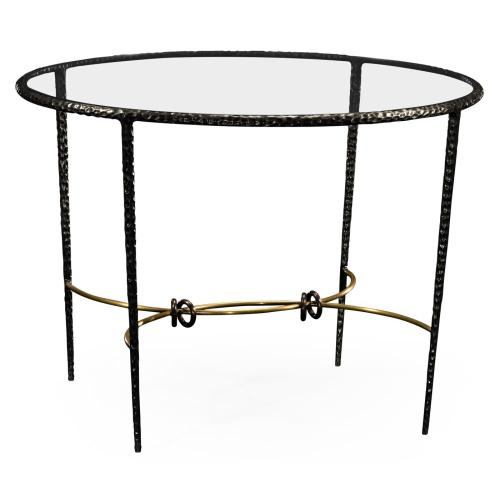 Bronze hammered circular centre table