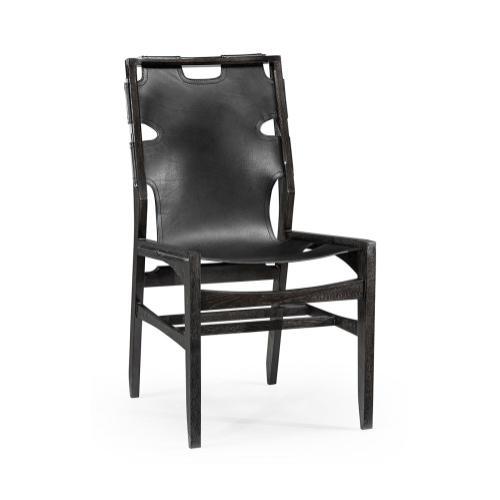 Midcentury Style Slung Black Leather & Black Mocha Oak Dining Side Chair