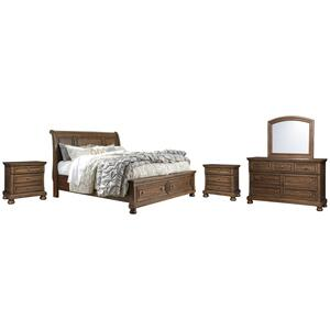 California King Sleigh Bed With 2 Storage Drawers With Mirrored Dresser and 2 Nightstands