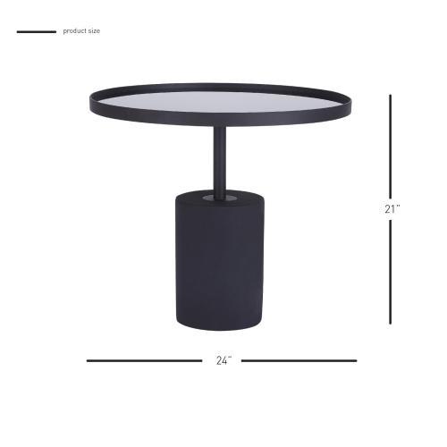 Samara KD Side/ End Table Glass Top with Black Concrete Base, Mirror Black