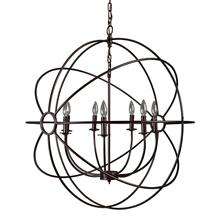 "33"" 7-Light Orb Chandelier in Rustic Black"