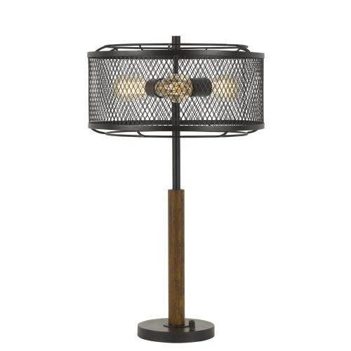 60W X 3 Dawson Metal/Wood Table Lamp With Metal Mesh Shade (Edison Bulbs Not included)