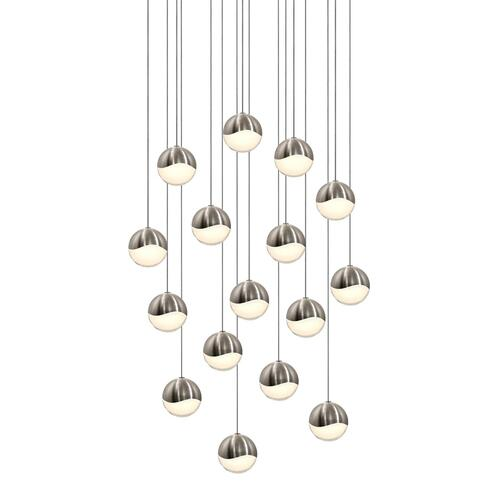 Sonneman - A Way of Light - Grapes® LED Pendant [Size=16-Light Medium, Color/Finish=Satin Nickel, Shape=Square Canopy]