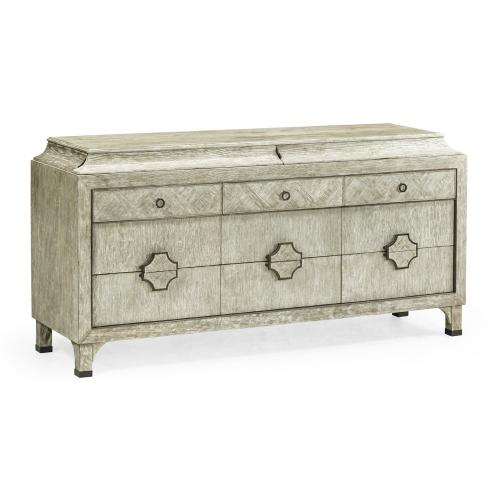 Grey Oak Buffet with Eleven Drawers