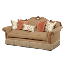 Wood Trim Camelback Sofa - Opt1