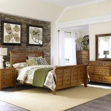 GRANDPA'S CABIN 5 PC SET - Queen Sleigh Bed, Dresser & Mirror, Chest, N/S   (175)