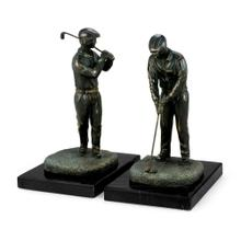 Golfers in antique dark bronze