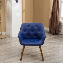 Vauclucy Contemporary Faux Leather Diamond Tufted Bucket Style Dining Chair, Blue