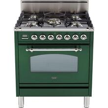 Nostalgie 30 Inch Gas Natural Gas Freestanding Range in Emerald Green with Chrome Trim