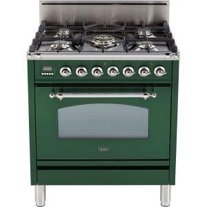 Nostalgie 30 Inch Gas Natural Gas Freestanding Range in Emerald Green with Chrome Trim