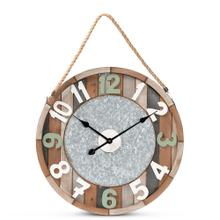 See Details - Baxton Studio Garrison Vintage Farmhouse Silver Metal and Multicolored Wood Wall Clock