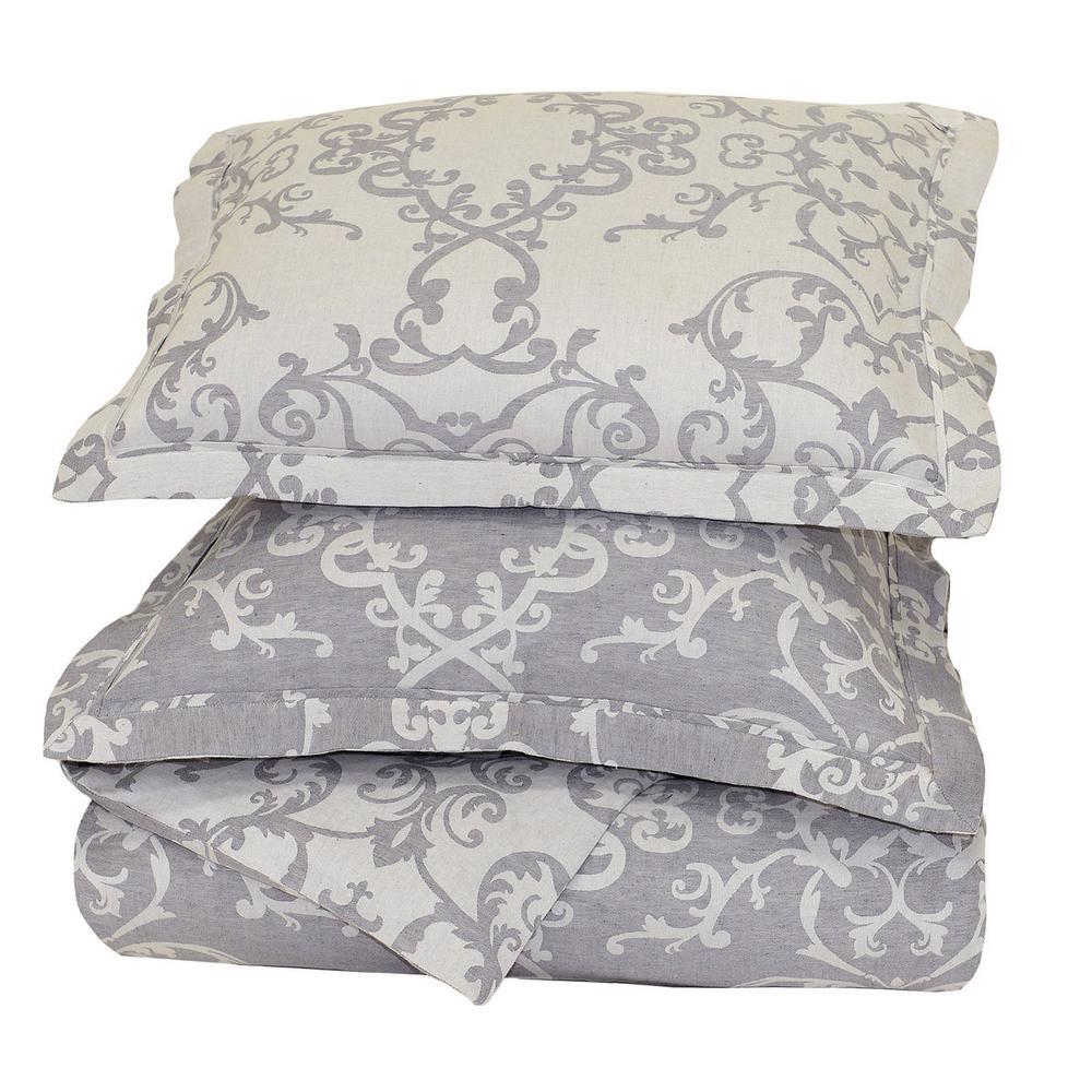 See Details - Lido Jacquard Charcoal Queen Duvet