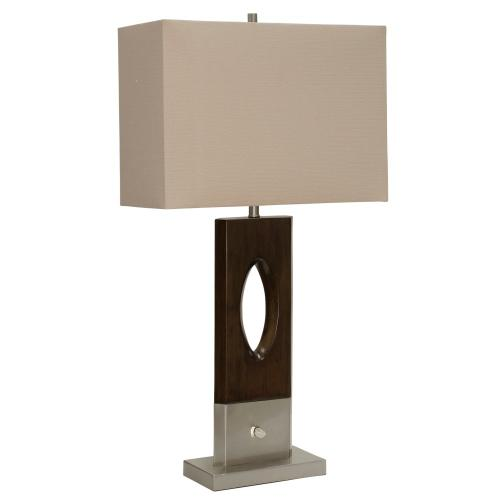 Wood Bridge  Modern Design Painted Faux Wood and Metal Base Table Lamp with Rotary Switch in Front