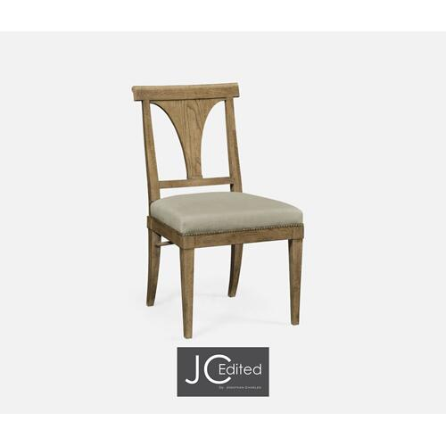 Cut-Out English Brown Oak Dining Side Chair, Upholstered in MAZO