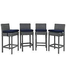 Summon Bar Stool Outdoor Patio Sunbrella® Set of 4 in Canvas Navy