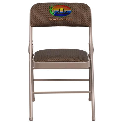 Embroidered HERCULES Series Triple Braced Brown Fabric Upholstered Metal Folding Chair