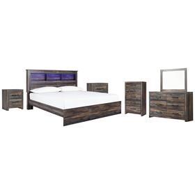 King Panel Bookcase Bed With Mirrored Dresser, Chest and 2 Nightstands
