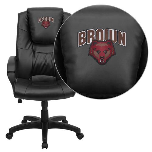 Brown University Bears Embroidered Black Leather Executive Office Chair