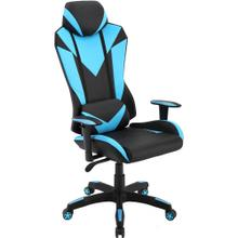 View Product - Hanover Commando Ergonomic High-Back Gaming Chair in Black and Electric Blue with Adjustable Gas Lift Seating and Lumbar Support, HGC0103