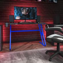 See Details - Blue Gaming Ergonomic Desk with Cup Holder and Headphone Hook