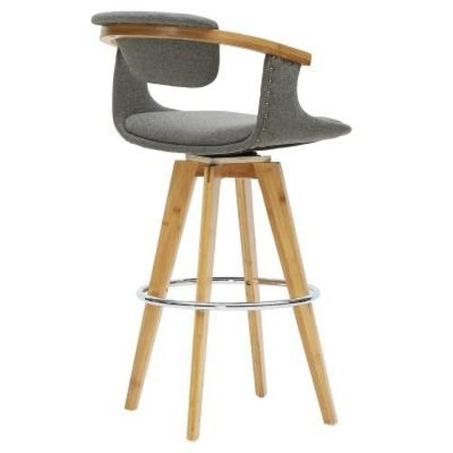 Darwin KD Fabric Bamboo Counter Stool, Stokes Gray/Natural
