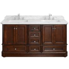Walnut RICHMOND 60-in Double-Basin Vanity with Carrara Stone Top