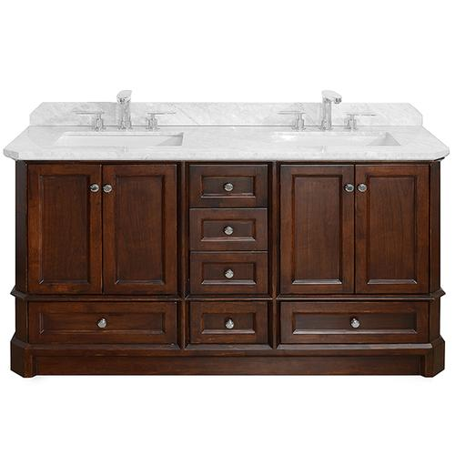 Icera - White RICHMOND 60-in Double-Basin Vanity with Carrara Stone Top