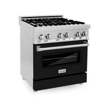 """View Product - ZLINE 30"""" 4.0 cu. ft. Dual Fuel Range with Gas Stove and Electric Oven in Stainless Steel with Color Door Options (RA30) [Color: Black Matte]"""