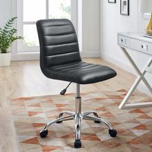 See Details - Ripple Armless Mid Back Vinyl Office Chair in Black