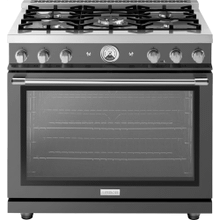 """See Details - Range LA CUCINA 36"""" Classic Pearl Finishing London Grey 5 gas, gas oven"""