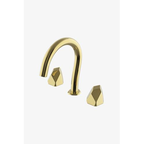 Isla Gooseneck Lavatory Faucet with Metal Geode Handles in Brass, 1.2gpm (4.5L/min)
