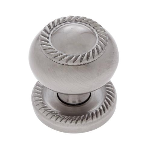 "Satin Nickel 1-1/4"" Rope Knob w/Back Plate"