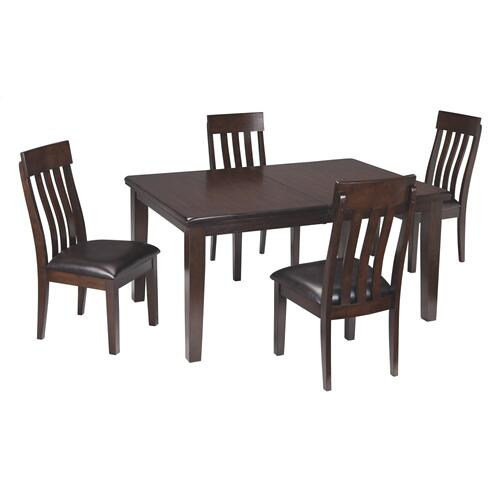 Haddigan 5PC Set: Dining Table w/ Leaf and 4 Chairs