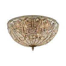 Elizabethan 10-Light Flush Mount in Dark Bronze with Clear Crystal