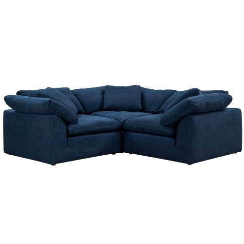 Cloud Puff Slipcovered Modular Sectional Small L Shaped Sofa (3 Piece)