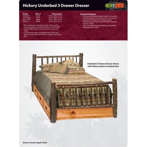 Hickory Underbed 3 Drawer Dresser
