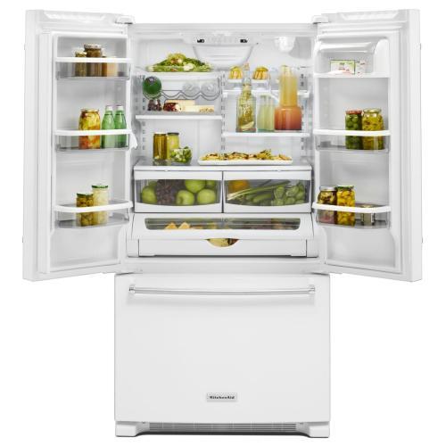 KitchenAid - 25 Cu. Ft. 36-Width Standard Depth French Door Refrigerator with Interior Dispense - White