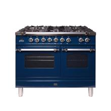 Nostalgie 40 Inch Dual Fuel Liquid Propane Freestanding Range in Blue with Chrome Trim