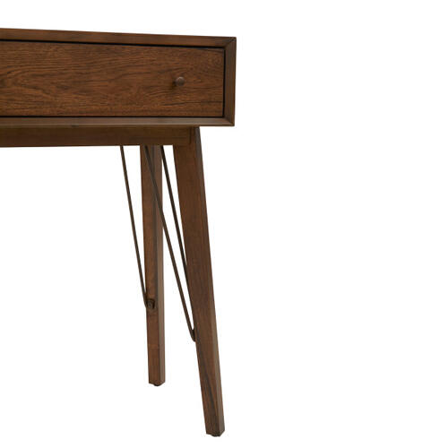 Accentrics Home - Mid-Century Modern Distressed Walnut Two Drawer Accent Storage Console Table