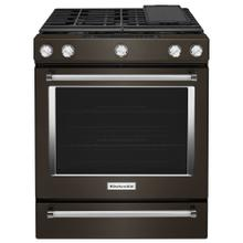 Brand New - 30-Inch 5-Burner Gas Slide-In Convection Range - Black Stainless Steel with PrintShield™ Finish