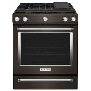 Kitchenaid  30-Inch 5-Burner Gas Slide-In Convection Range - Black Stainless Steel with PrintShield™ Finish