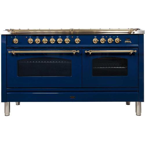 Nostalgie 60 Inch Dual Fuel Liquid Propane Freestanding Range in Blue with Brass Trim