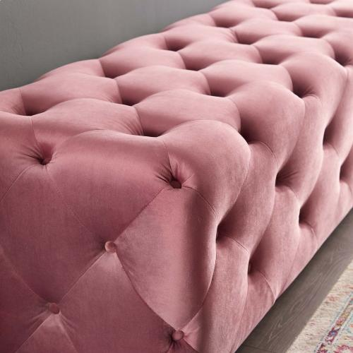 """Amour 72"""" Tufted Button Entryway Performance Velvet Bench in Dusty Rose"""