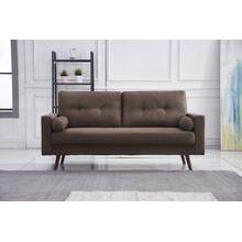 See Details - 8133 BROWN Linen Stationary Tufted Sofa