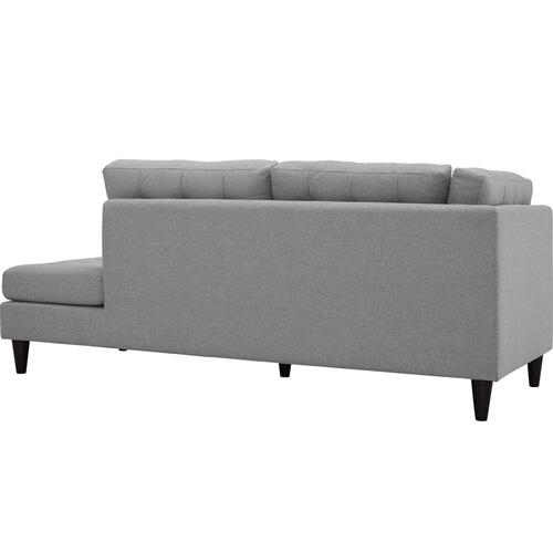 Empress Upholstered Fabric Right Facing Bumper in Light Gray