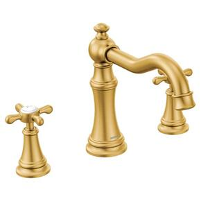 Weymouth brushed gold two-handle roman tub faucet