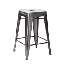 Tolix Style Backless Metal Industrial Stacking Counter Height Stool - Reproduction - Galvanized, Set-of-1