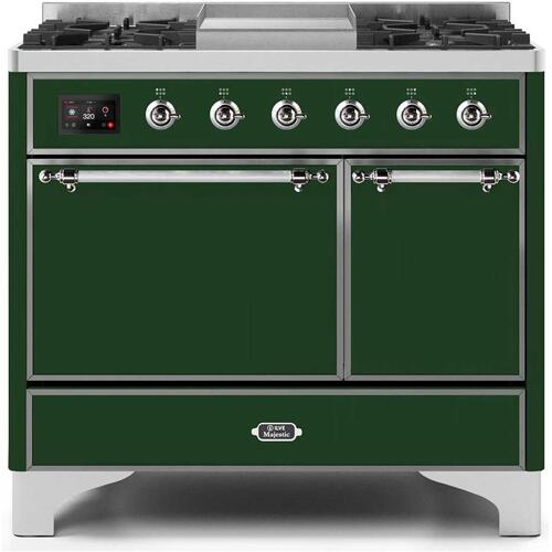 Product Image - Majestic II 40 Inch Dual Fuel Liquid Propane Freestanding Range in Emerald Green with Chrome Trim