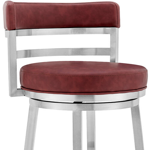 "Madrid Contemporary 26"" Counter Height Barstool in Brushed Stainless Steel Finish and Red Faux Leather"