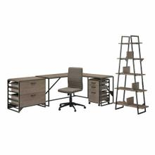 See Details - 62W L Shaped Industrial Desk and Chair Set with Storage, Restored Gray
